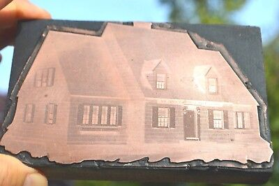 Vintage Large Wood Copper Printing Block Depicting An Old House