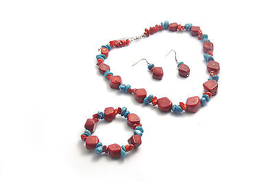 Coral Necklace Bracelet Earring - Red Coral and Blue Coral Jewelry Set Of Necklace Bracelet and Earring