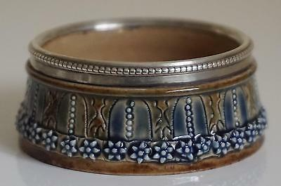 Superb Doulton Lambeth Open Salt - Silver Rim - Elizabeth A.Sayers - c.1877