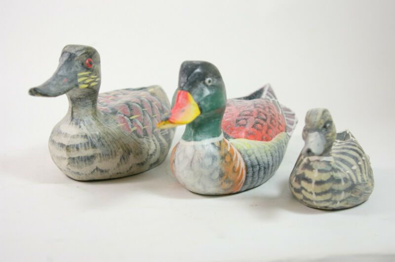 Hand Carved Wood Duck Decoy Set of 3 Small Ducks Hand Painted