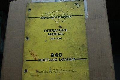 Mustang 940 Skid Steer Loader Owner Operator Operation Maintenance Manual Book
