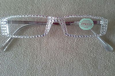 FULL CLEAR AUSTRIAN CRYSTAL READERS GLASSES 2.00 GOLD ARMS