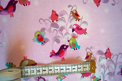 Jersey Baumwolljersey Meterware Vögel Rosa Kinderstoff 25 cm x 150 cm