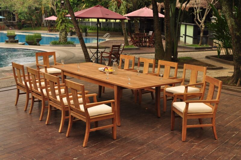 "11-piece Outdoor Teak Dining Set: 122"" Xl Rectangle Table, 10 Arm Chairs Osbo"