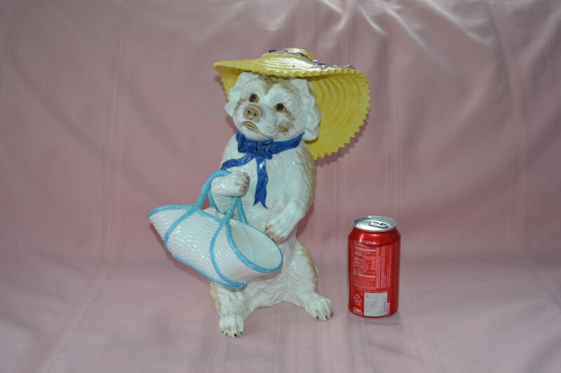 """LIFE SIZE WHIMSICAL/COMICAL CERAMIC DOG FIGURINE DRESSED FOR GARDENING 13"""" TALL"""