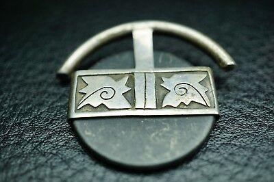 vintage rund Anhänger schwarzer Stein 925 Silber Handarbeit um 1960 / a81