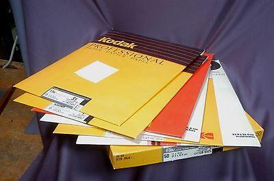 11x14 darkroom papers lot, Kodak Elite, Ilford, Agfa read list 7 packets open
