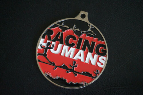 MEDALLION Racing Humans Medal Token Badge Necklace Metal Red Black White
