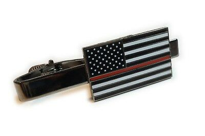THIN RED LINE Fallen Fireman Officer Law Enforcement Suit Tie Bar Clip](Thin Red Tie)