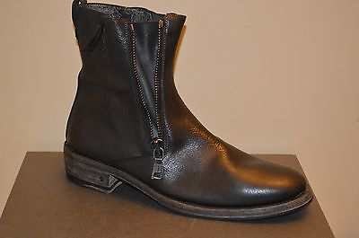 JOHN VARVATOS Charcoal Leather Double-Zip Mens Boots Size 13 MSRP $1000