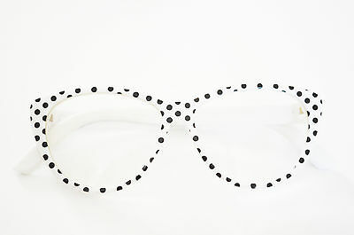 White Frame with Black Dots Reading Glasses for American Girl (White Girls With Glasses)