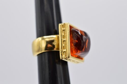 Givenchy Signed Vintage Adjustable Ring Gold Red Amber Gripoix Jelly Runway RARE
