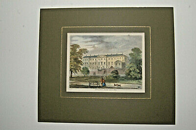 Antique print of London's 'Devonshire House'. Woodcut printed C1880. Hand tinted