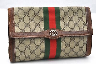 Authentic GUCCI Web Sherry Line Clutch Bag GG PVC Leather Brown 96402