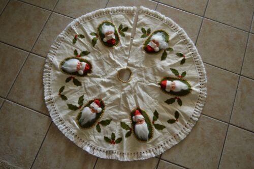 Vintage Christmas Tree Skirt MCM Kitschy Handmade OOAK Vinyl Santa Head Rare