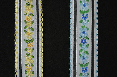 Lace Trim, Flat Floral Ribbon in choices of Yellow or Blue 1 3/8