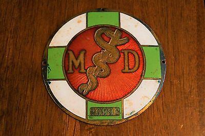 1925 AMA Physician Caduceus MD Metal Emblem Enamel Dr Mary Elizabeth Bass