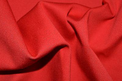 Rojo Color Sólido Elástico Algodón Elastano Sarga 140cm Ancho Por Metros