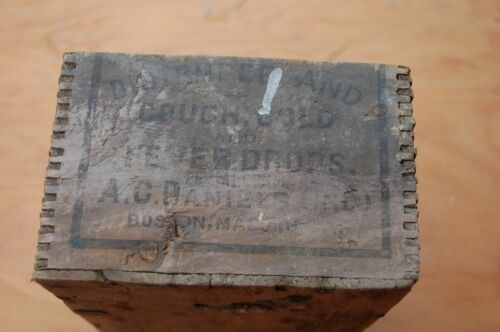 """Vintage A C Daniels, Boston Mass Wooden Box, """"Distemper, Cough, Cold and Fever"""""""