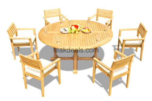"7-piece Outdoor Teak Dining Set: 72"" Round Table, 6 Stacking Arm Chairs Mont"