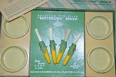 Mid Century Mod NIBCO Silver Chamberlin Buttercorn Brush Set Corn Unused