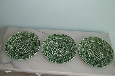 Bordallo Pinheiro PLATES Majolica Pottery Green PINEAPPLE Portugal Set of 3