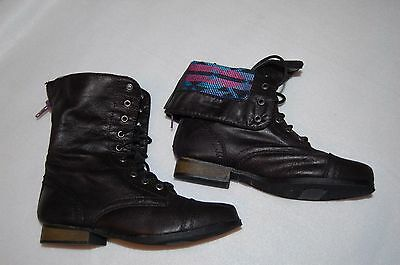GIRLS FASHION BOOTS Black LACE UP OR FOLD DOWN TOP 3/4