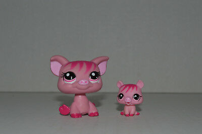 Littlest Pet Shop~#3595~Mom~#3596~Baby~Pig & Piglet~Pink Fuchsia~Pink Dot Eyes