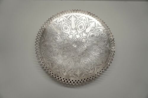 Large Antique .84 Silver Persian Plate