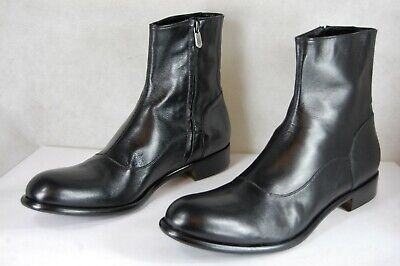 ROCCO P. MEN BLACK LEATHER BIKER RIDING MOTO BOOTS EU 45.5 US 12.5 MADE IN ITALY