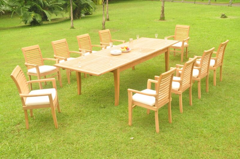 """11-pc Outdoor Teak Dining Set: 122"""" Xl Rectangle Table, 10 Stacking Chairs Masc"""