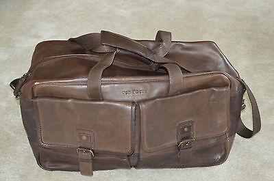 Ted Baker Brown Leather Zip Holdall Large Shoulder Duffle Gym Weekend Bag Mens