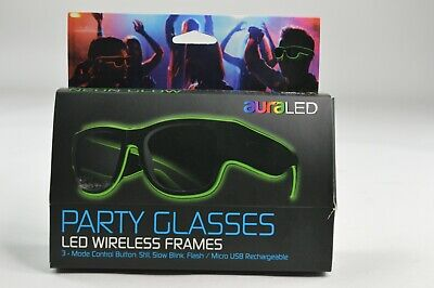 AuraLED Neon Light Up Party Shades Glasses Green USB Rechargeable