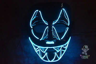BLUE Sharp Tooth ELWire Rave EDC EDM DJ Party Festival Halloween Costume Mask! - Halloween Festival Costumes