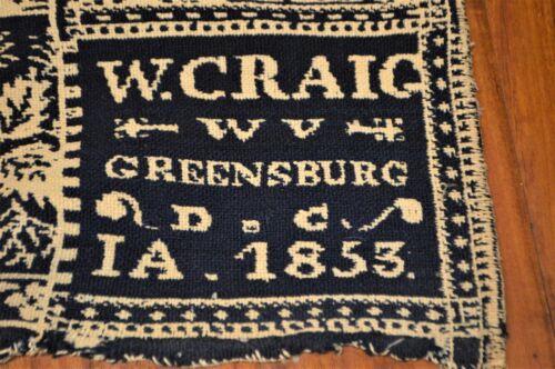 Antique William Craig Sr 1853 Coverlet Greensburg Indiana Museum Featured Weaver