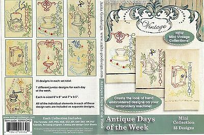 Antique Days of the Week Anita Goodesign Embroidery Designs