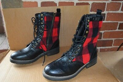 Girl Combat Boot (New Madden Girl Womens Miles Red Plaid Combat)