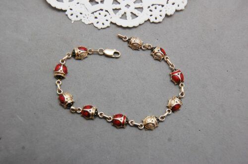"Lady Bug Beetle Bracelet 14K Yellow Gold & Enamel 7 1/2""  Lobster Clasp 5.9 gram"