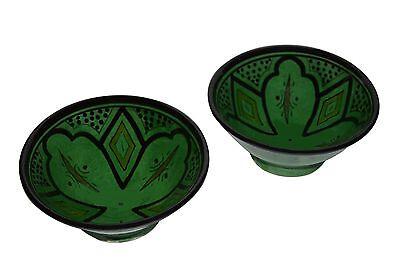 Moroccan Handmade Ceramic Soup Ceral Serving Dipping Salsa Chip Bowl Dish 2 Set
