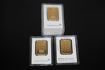 PAMP SUISSE OR CREDIT SUISSE 1 OZ. FINE .999 GOLD BARS