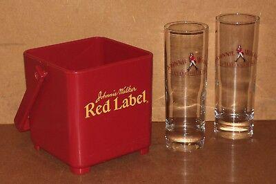 2 verres tube + seau à glaçons johnnie walker whisky pub bar bistrot glasses