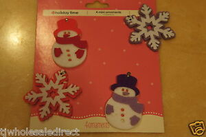 Holiday-Christmas-Snowman-and-Snowflakes-Mini-Tree-Ornaments-Decorations-4-Count