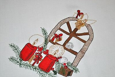 CHRISTMAS ANGEL ATOP THE HOLIDAY WINDOW DISPLAY OF GIFTS! VTG GERMAN TABLECLOTH