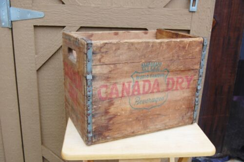 """Canada Dry Beverages Wood Crate Box Rockford Illinois Vintage 16""""x 11 1/2""""x 12"""""""