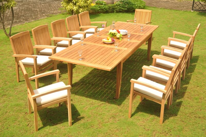 """11-pc Outdoor Teak Dining Set: 122"""" Xl Rectangle Table, 10 Stacking Chairs Wave"""