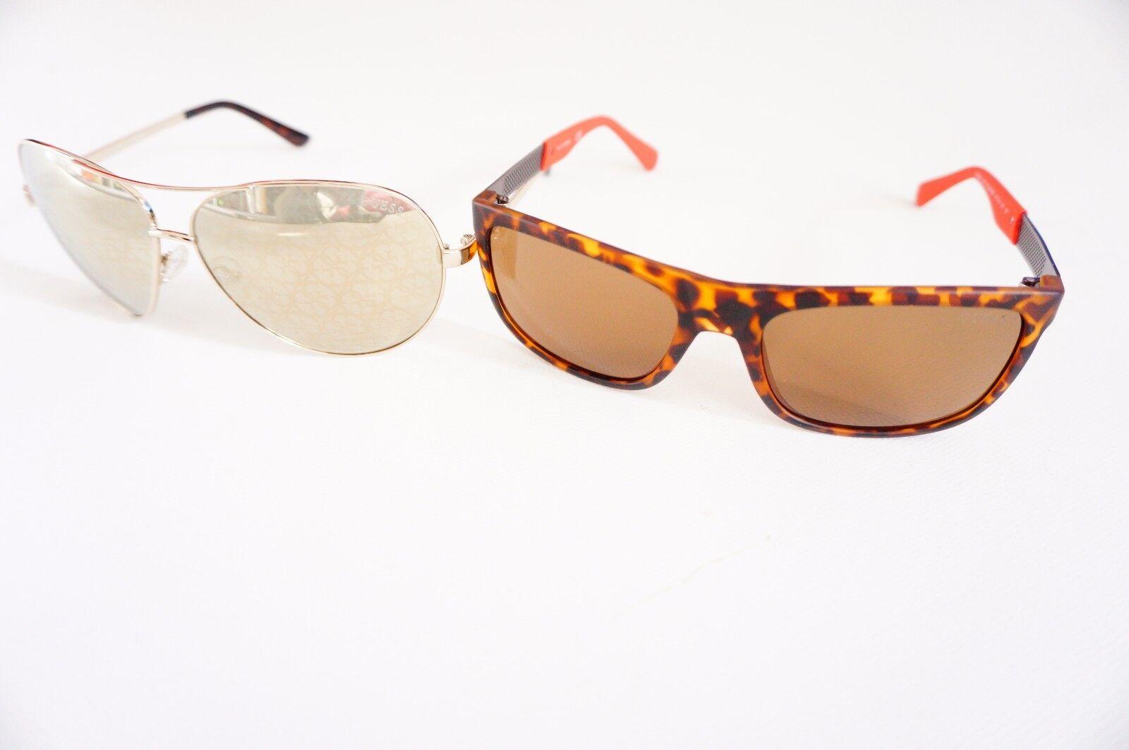 Guess Damen/ Herren Sonnenbrille , Gold/Dark Havanna Braun Unisex Sonnenbrille