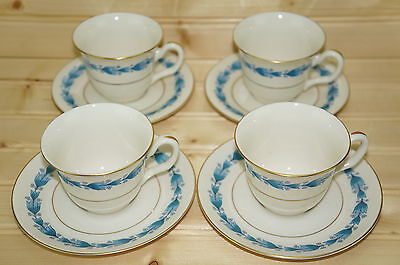 "Castleton Classic Blue (4) Demitasse Cups, 2 3/8"" & (4) Saucers, 5"""