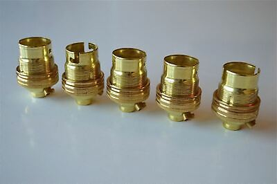 5 BRASS BAYONET FITTING BULB HOLDER LAMP HOLDER EARTHED WITH SHADE RING 10MM L2