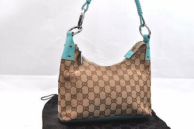 Authentic GUCCI Hand Bag GG Canvas Leather Brown Light Blue 96014