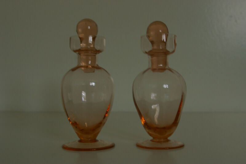 Vintage Pink Depression Glass Cologne Bottles (2) with Stoppers Hand Blown